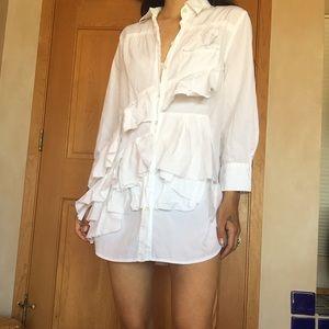 90s asymmetric ruffle button down tunic dress top